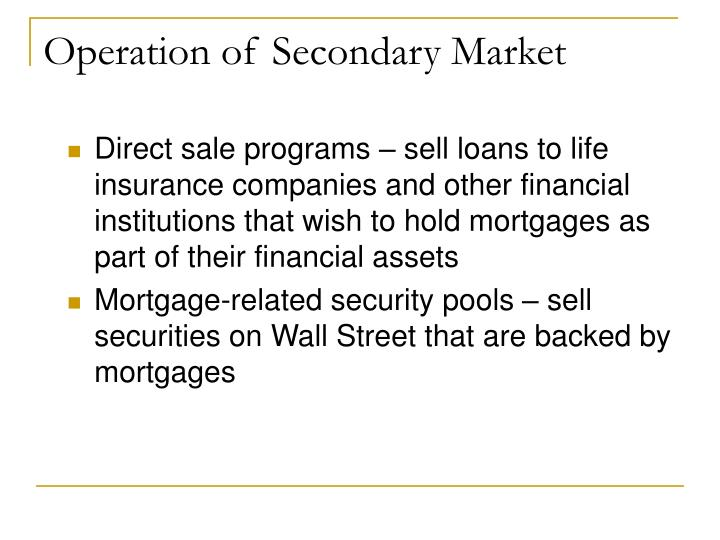 Operation of Secondary Market