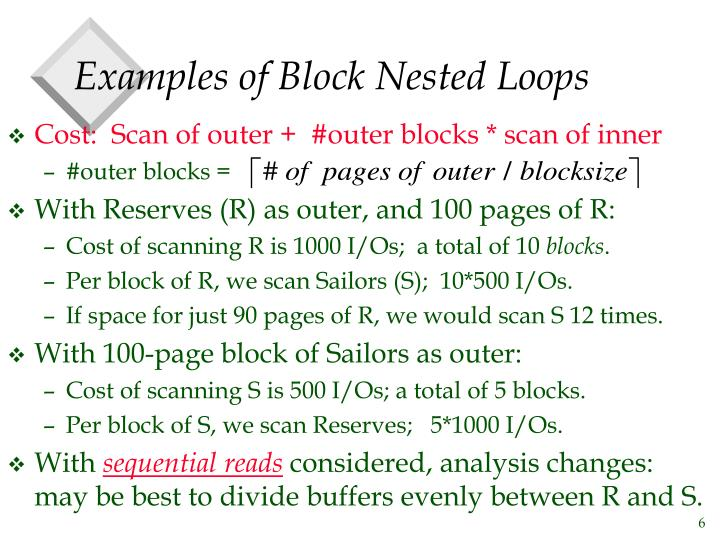 Examples of Block Nested Loops