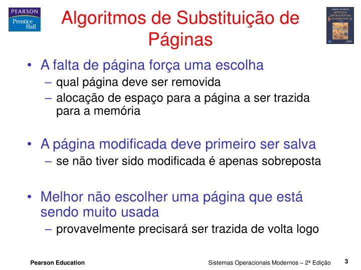 Algoritmos de substitui o de p ginas