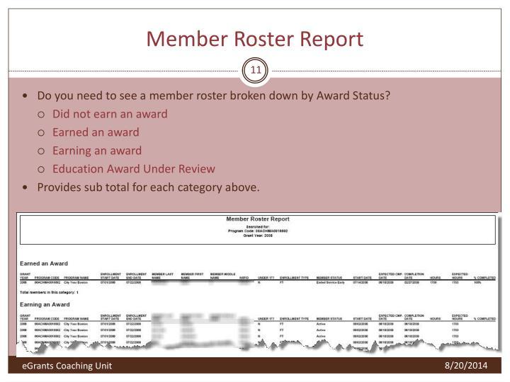 Member Roster Report
