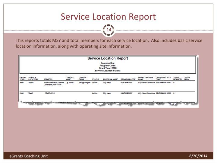 Service Location Report