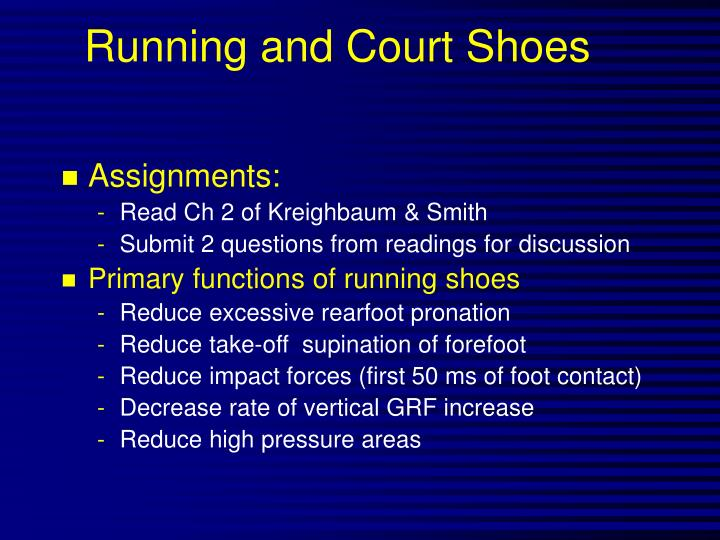 Running and court shoes