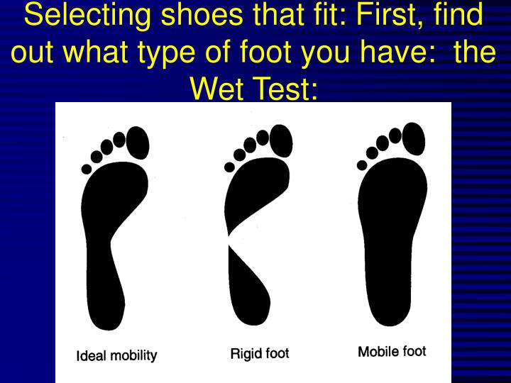 Selecting shoes that fit: First, find out what type of foot you have:  the  Wet Test: