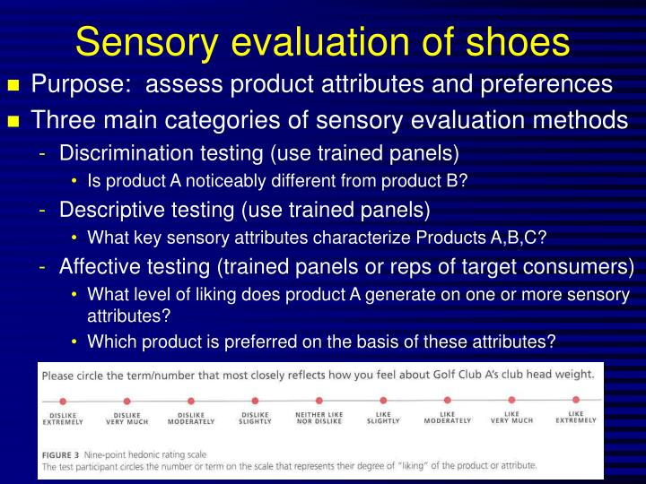 Sensory evaluation of shoes