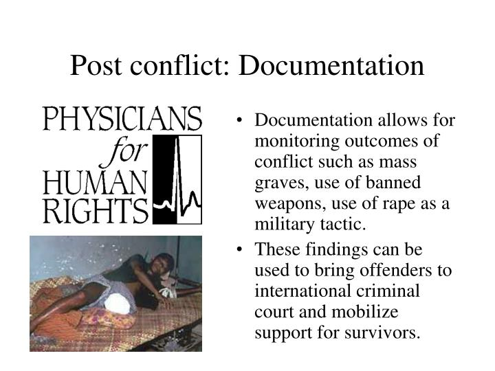 Post conflict: Documentation