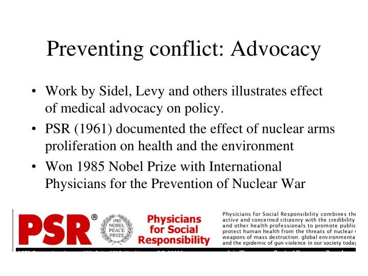 Preventing conflict: Advocacy
