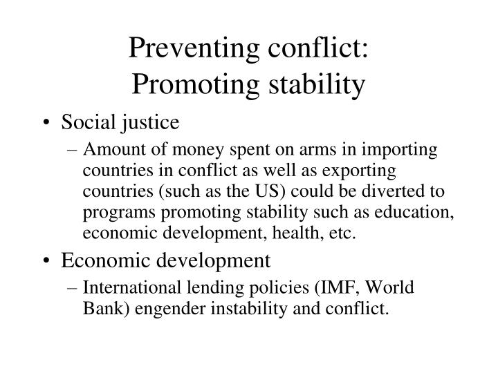 Preventing conflict: