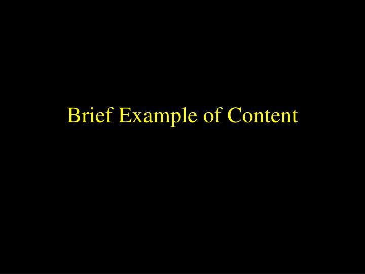 Brief Example of Content