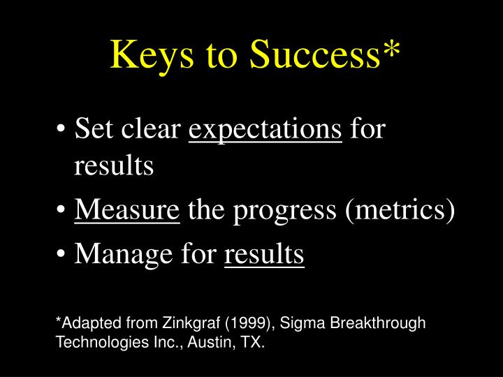 Keys to Success*