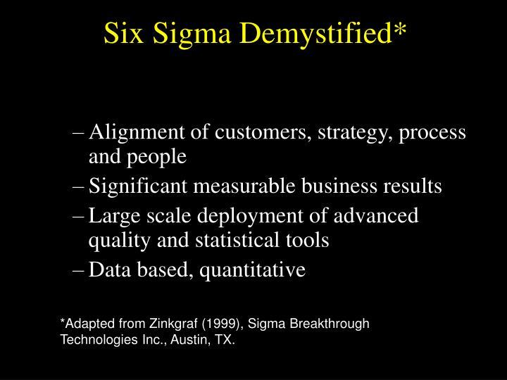 Six Sigma Demystified*
