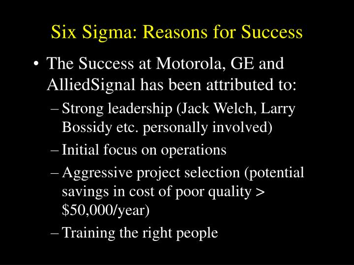 Six Sigma: Reasons for Success