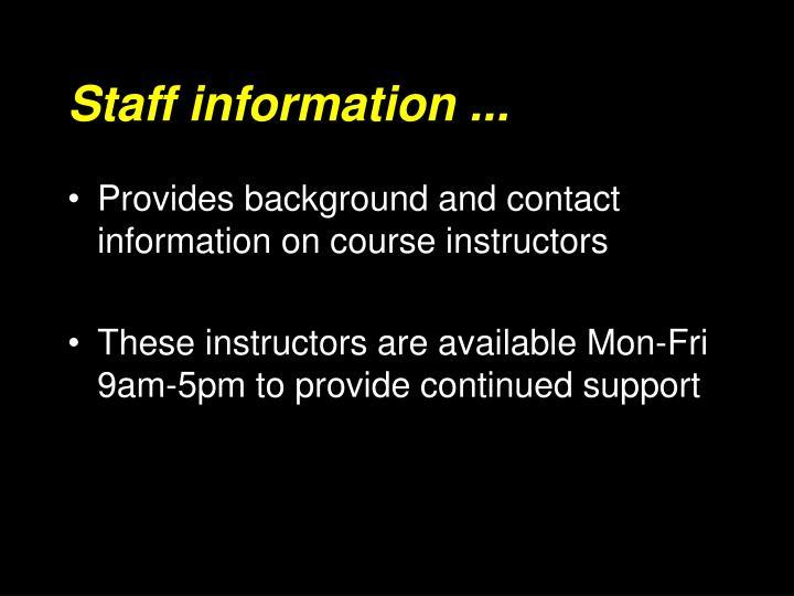 Staff information ...