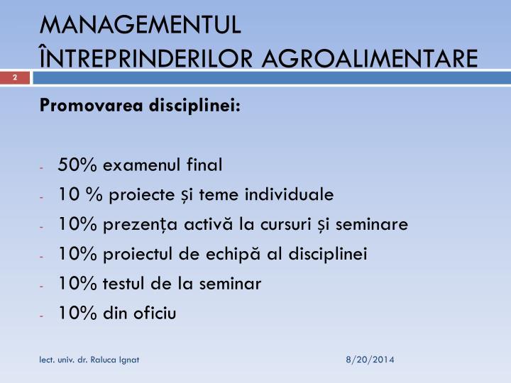 Managementul ntreprinderilor agroalimentare1