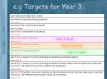 e g targets for year 3