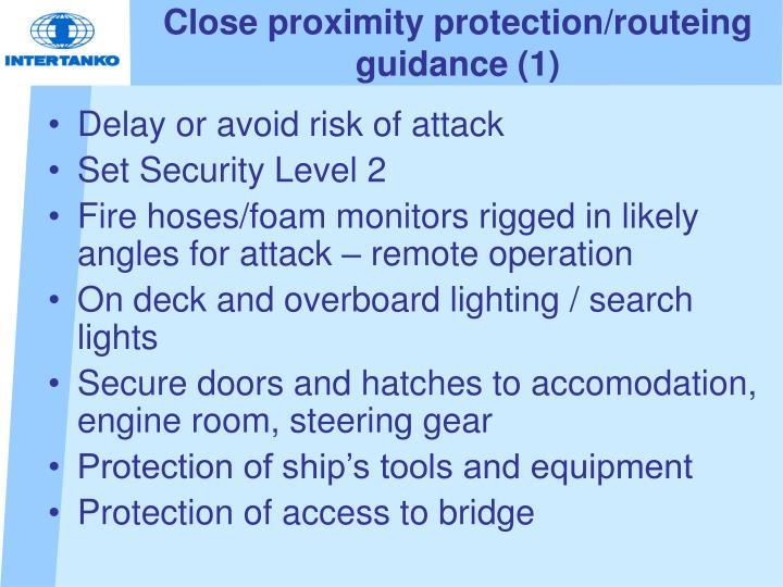 Close proximity protection/routeing guidance (1)