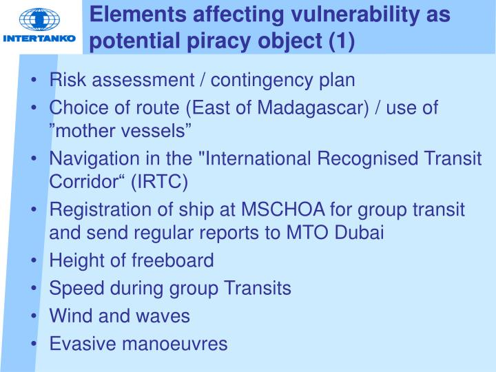 Elements affecting vulnerability as potential piracy object (1)