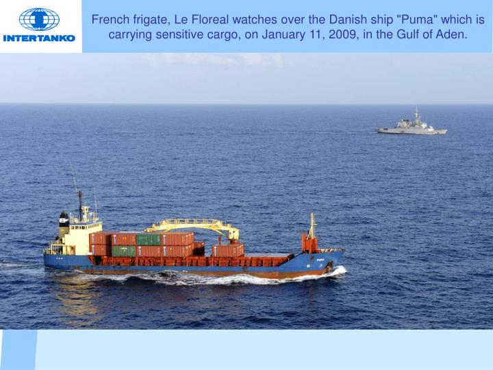 """French frigate, Le Floreal watches over the Danish ship """"Puma"""" which is carrying sensitive cargo, on January 11, 2009, in the Gulf of Aden."""