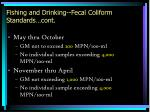 fishing and drinking fecal coliform standards cont