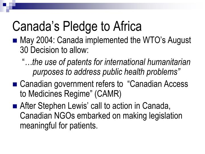 Canada s pledge to africa