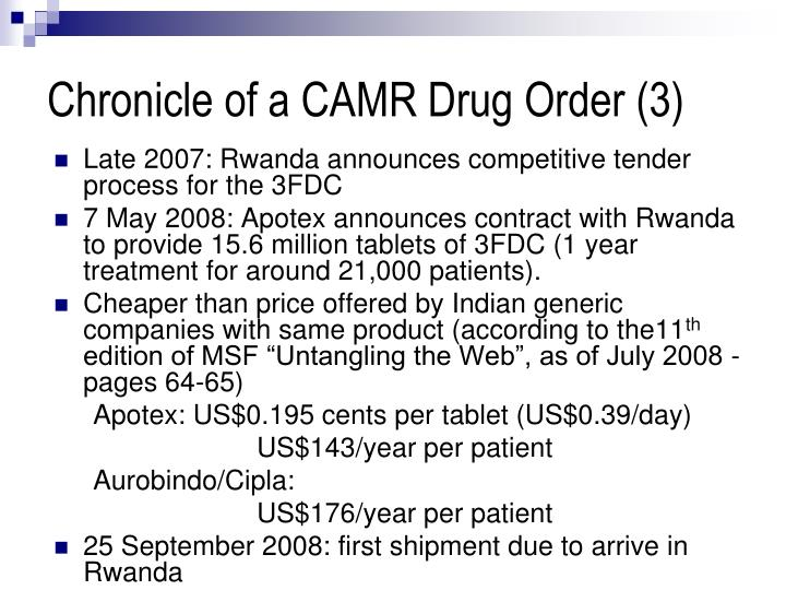 Chronicle of a CAMR Drug Order (3)