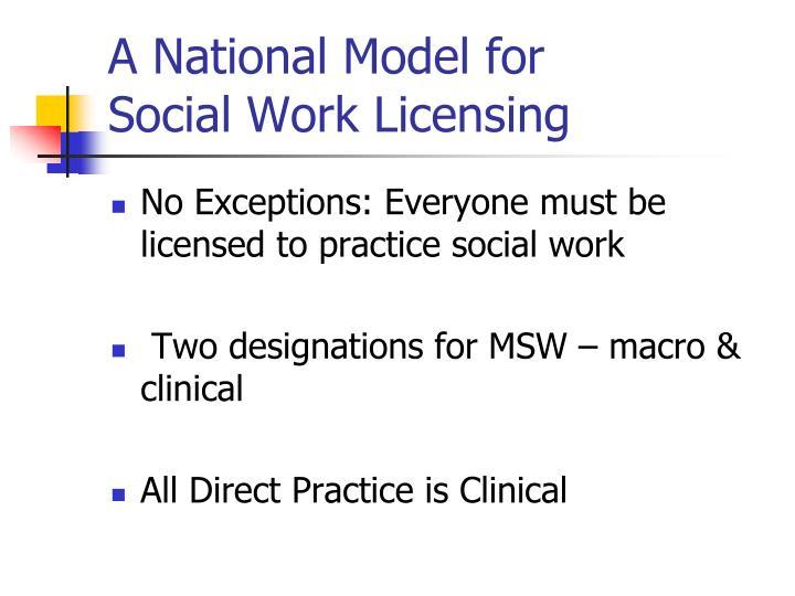 A national model for social work licensing
