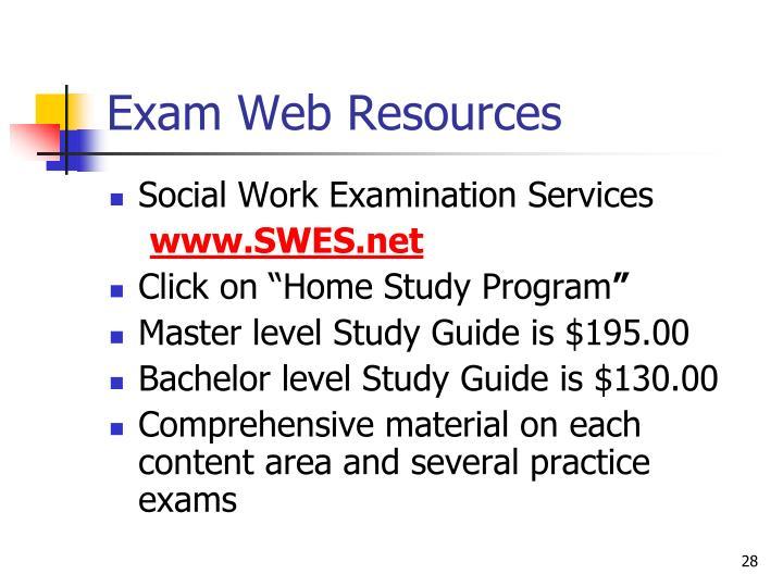 Exam Web Resources