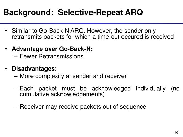 Background:  Selective-Repeat ARQ