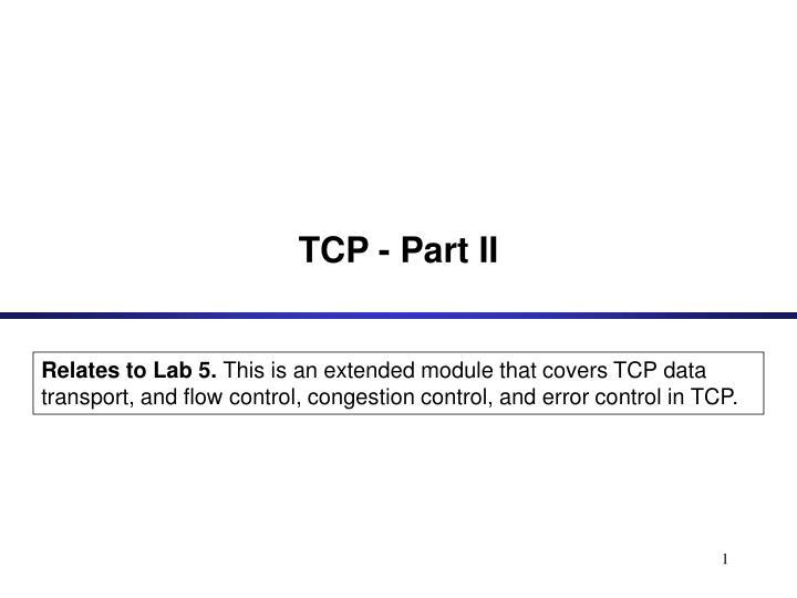 Tcp part ii