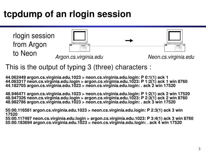 Tcpdump of an rlogin session