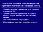 tocilizumab plus mtx provides rapid and significant improvement in disease activity