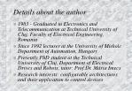 details about the author