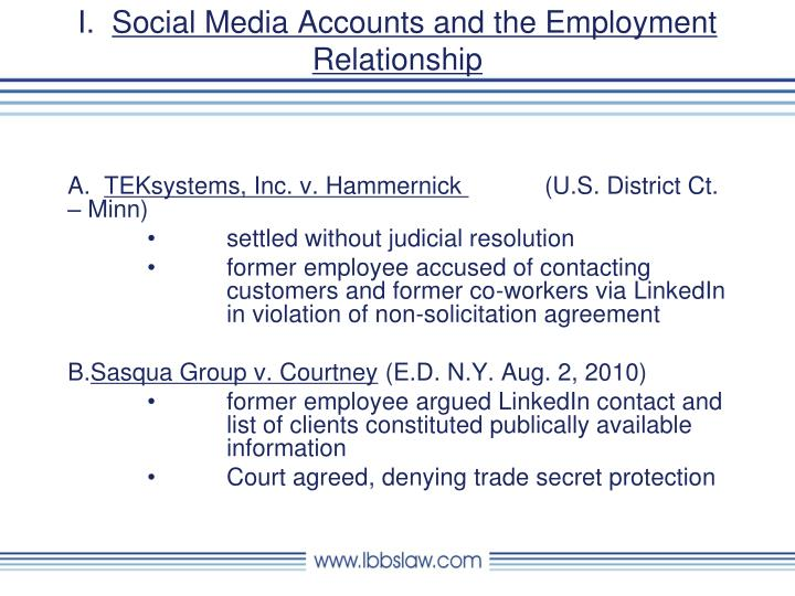 I social media accounts and the employment relationship