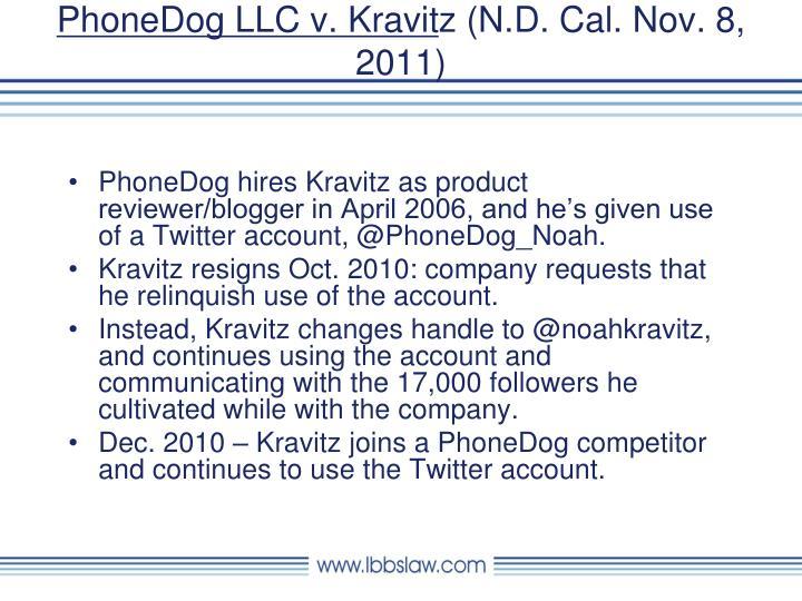 PhoneDog LLC v. Kravit