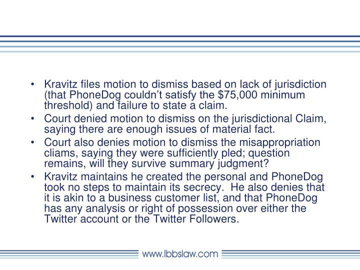 Kravitz files motion to dismiss based on lack of jurisdiction (that