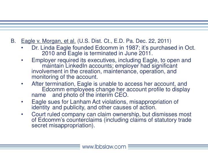 Eagle v. Morgan, et al.