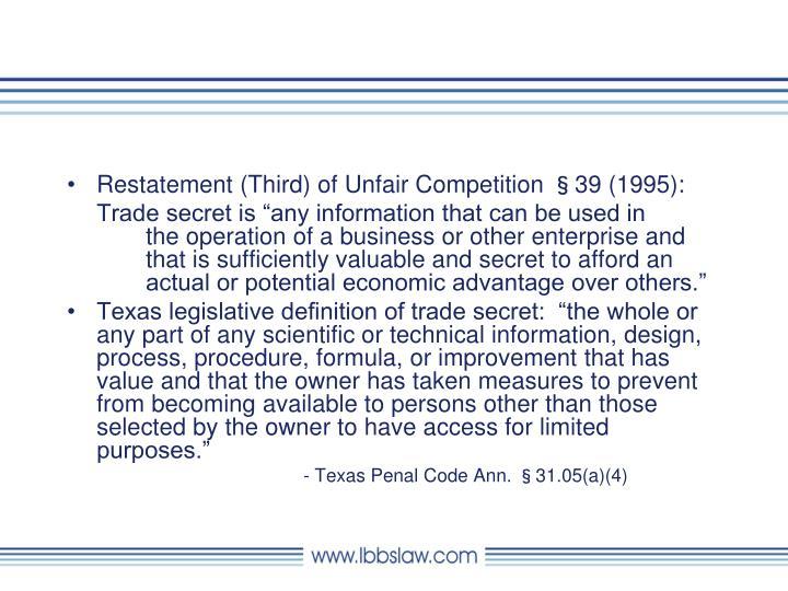 Restatement (Third) of Unfair Competition §39 (1995):