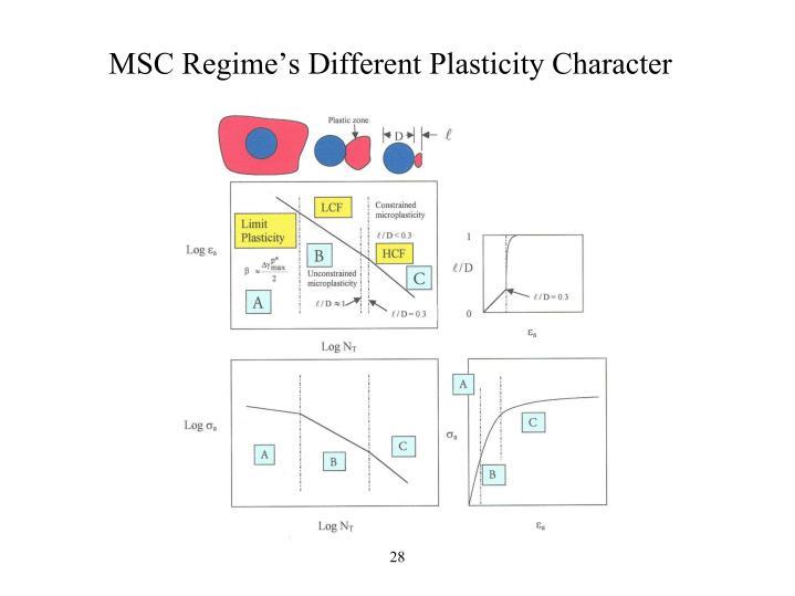 MSC Regime's Different Plasticity Character