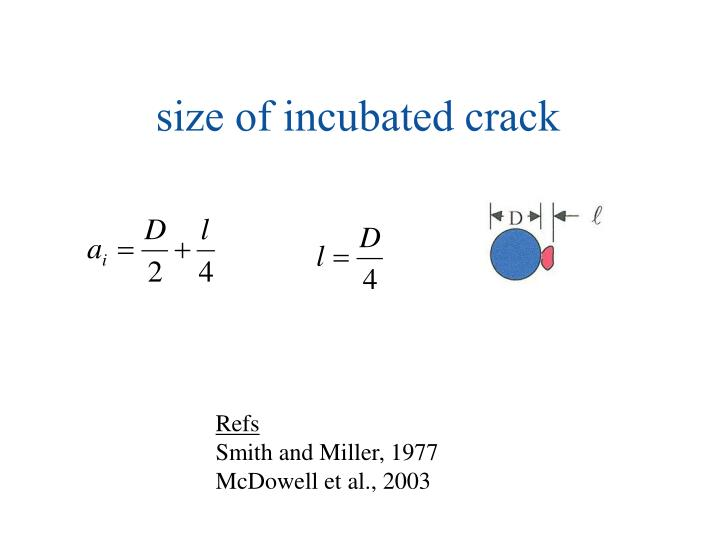 size of incubated crack