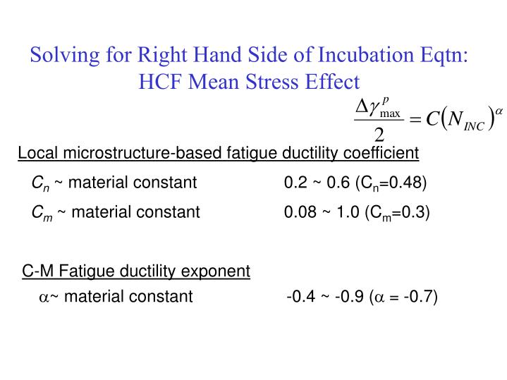 Solving for Right Hand Side of Incubation Eqtn: HCF Mean Stress Effect