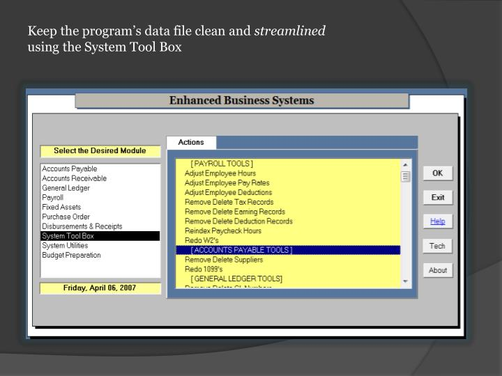 Keep the program's data file clean and
