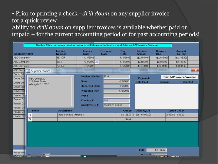 Prior to printing a check -