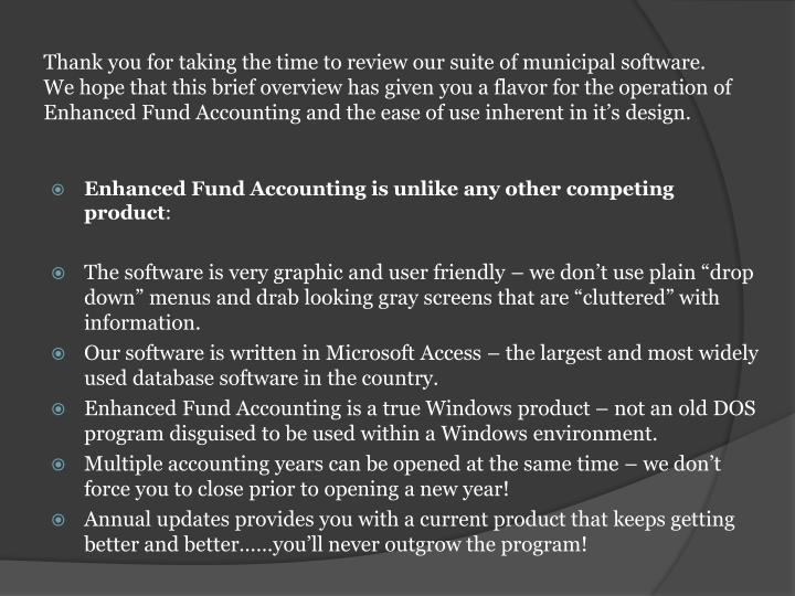 Thank you for taking the time to review our suite of municipal software.