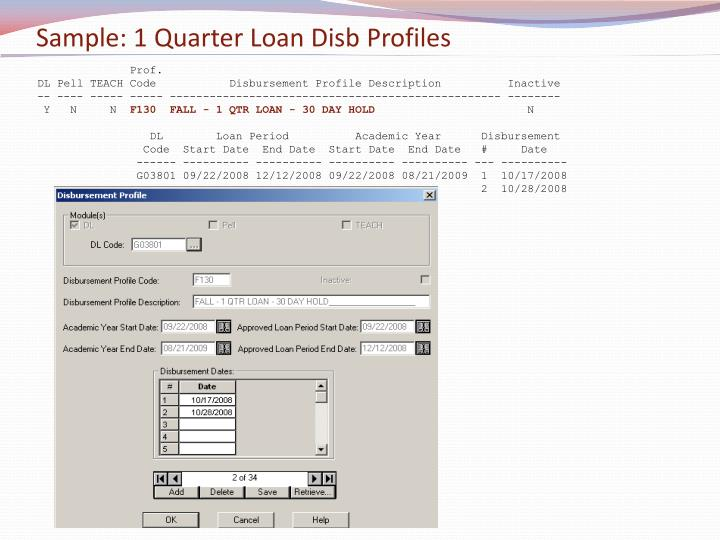 Sample: 1 Quarter Loan Disb Profiles