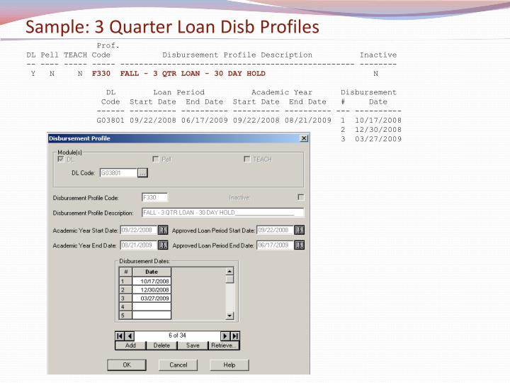 Sample: 3 Quarter Loan Disb Profiles