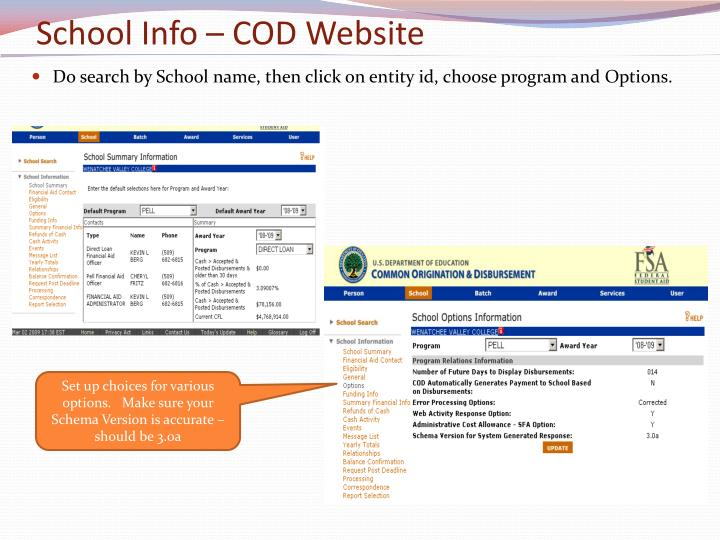 School Info – COD Website