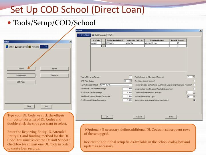Set Up COD School (Direct Loan)