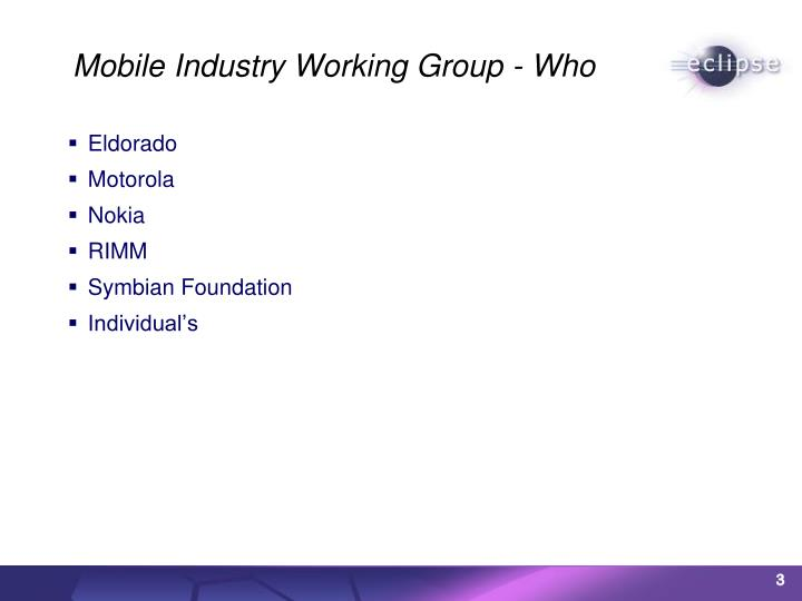 Mobile industry working group who
