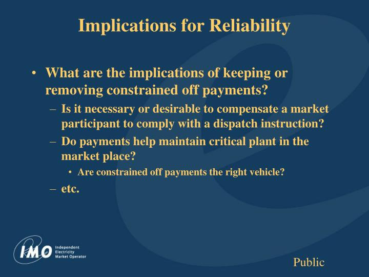 Implications for Reliability