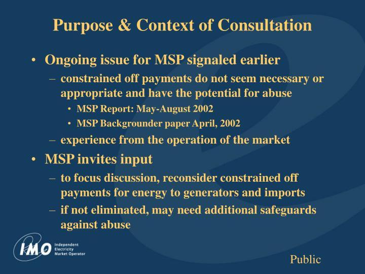 Purpose context of consultation