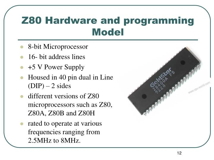 Z80 Hardware and programming Model